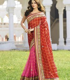 Buy maroon embroidered georgette saree With Blouse wedding-saree online