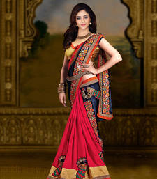 Buy Navy Blue & Pink embroidered chiffon saree With Blouse chiffon-saree online
