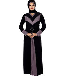 Buy Purple and black lycra straight stitched abaya lycra-abaya online