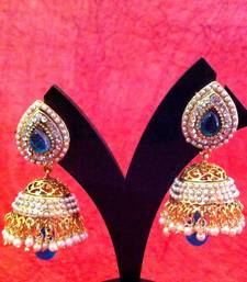Ethnic pearl jhumka earrings with turquoise firozi stones by adiva V12t shop online