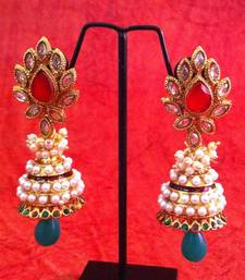 Buy Red green flower in uncut ad stone pearl jhumka earring v349rg anniversary-gift online