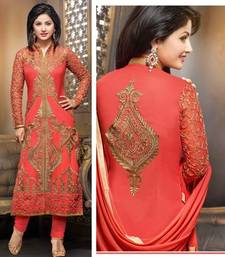 Buy Orange georgette  embroidered semi stitiched salwar with dupatta party-wear-salwar-kameez online