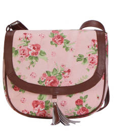 Buy Pink and green canvas printed sling bags sling-bag online