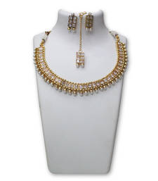 Buy White gold plated cubic zirconia jewellery combo necklace-set online