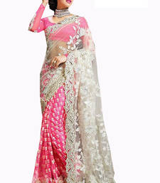 Buy Pink embroidered Net saree With Blouse wedding-saree online