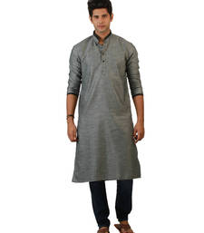 Buy Grey plain linen men kurtas men-kurta online