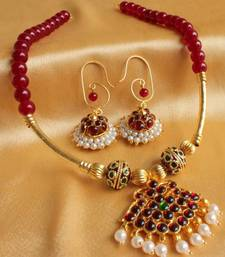 Buy BEAUTIFUL RUBY UNIQUE DESIGN TEMPLE JEWEL SET necklace-set online