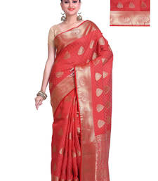 Buy Red Resham and Zari Woven Artificial Tussar Silk Saree With Unstitched Blouse tussar-silk-saree online