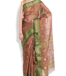 Buy copper woven tissue saree With Blouse tissue-saree online