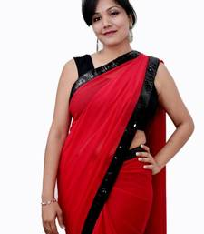 Buy Red Saree With Black Border georgette-saree online