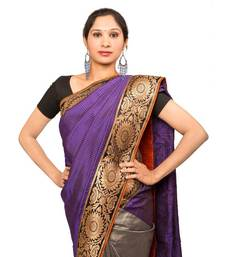 Buy Purple & Grey Kanchipuram Saree kanchipuram-silk-saree online