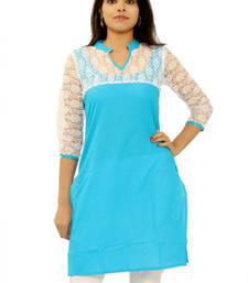 Buy Blue cotton plain kurti cotton-kurti online