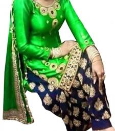 Buy Green cotton unstitched salwar with dupatta punjabi-suit online