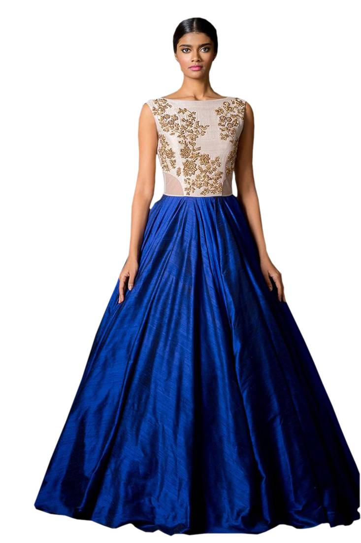 Buy Blue Georgette Embroidered Semi Stitched Party Wear Gown Online