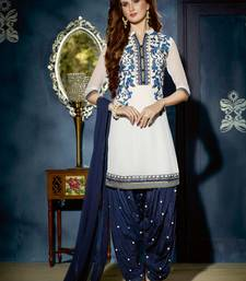 Buy White embroidered georgette untiched salwar suit dress material patiala-salwar online