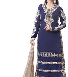 Buy Navyblue embroidered cotton unstitched salwar with dupatta dress-material online