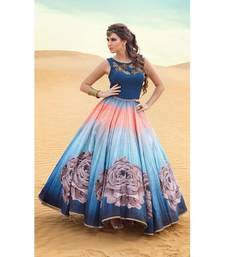 Buy Multicolor banglory silk embroidered semi stitched party wear gowns party-wear-gown online
