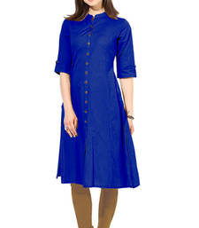 Buy new blue color home wear long cotton kurti cotton-kurti online