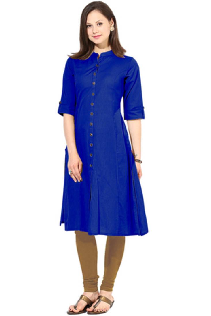 Buy New Blue Color Home Wear Long Cotton Kurti Online