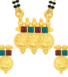 Buy Classic Laxmi Temple Coin Gold Plated Mangalsutra Set For Women mangalsutra online