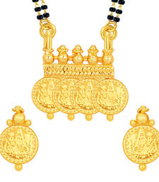 Buy Magnificent Laxmi Temple Coin Gold Plated Mangalsutra Set For Women mangalsutra online