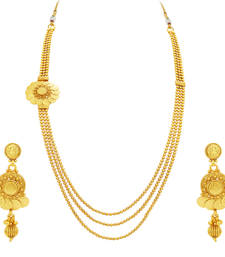 Buy Amazing Three String Laxmi Temple Coin Gold Plated Necklace Set For Women necklace-set online