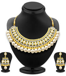 Buy Divine Gold Plated AD Necklace Set For Women eid-jewellery online