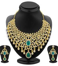 Buy Splendid Gold Plated AD Necklace Set For Women necklace-set online