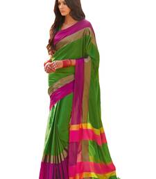 Buy Green Magenta woven Cotton Blend saree With Blouse cotton-saree online