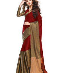 Buy Red Golden woven Cotton Blend saree With Blouse cotton-saree online