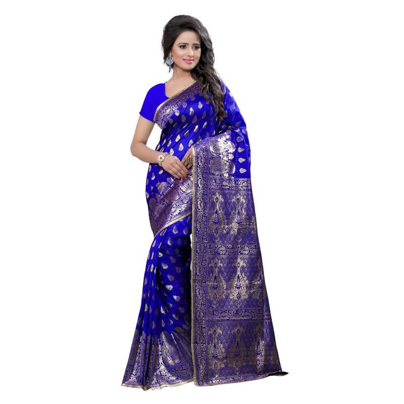 Buy Blue Embroidered Banarasi Silk Saree With Blouse Online