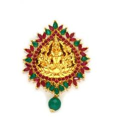 Buy Anvi's lakshmi pendent with studded with emeralds and rubies Pendant online