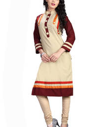 Buy Beige plain cotton kurti kurtas-and-kurti online