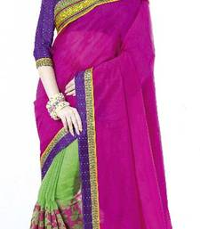 Buy PINK LOTUS SUPERNET COTTON SAREE cotton-saree online