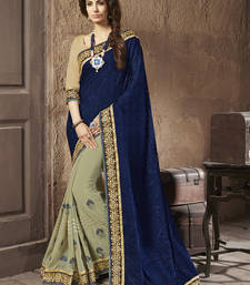 Buy dark_navy_blue embroidered brasso saree With Blouse brasso-saree online