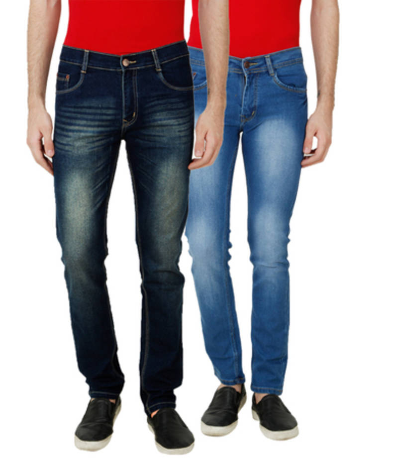 Buy Multicolor denim combo pants for men Online