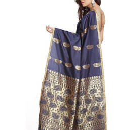 Buy Small Border Navy Blue Art Silk Saree with Zari Keri's silk-saree online