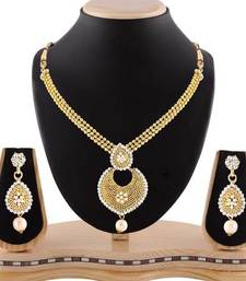 Buy Exquitely pearl drop stone gold finishing necklace set necklace-set online