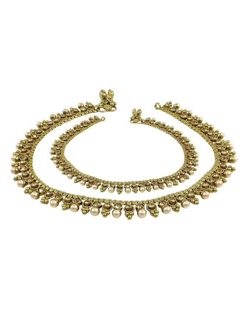 Diamond Anklet With Toe Ring Lc00035 In Anklets From: Buy Golden Beige Polki Stones Payal Anklet Online