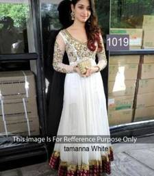 Buy White velvet embroidered semi stitched salwar with dupatta bollywood-salwar-kameez-online online