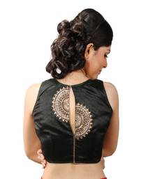 Buy Black handwork blouse. dupion silk stitched blouse blouse online