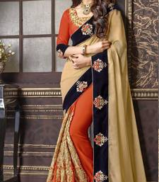 Buy georgette saree by fabkaz (Orange) designer-embroidered-saree online