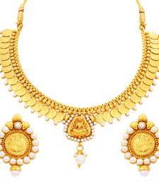 Buy Modish Laxmi Temple Coin Gold Plated Necklace Set For Women necklace-set online