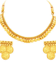 Buy Exquisite Laxmi Temple Coin Gold Plated Necklace Set For Women necklace-set online