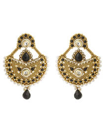 Buy Pure collection antique golden black colour ethnic indian chandbali earrings danglers-drop online