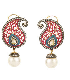 Buy Knowledge collection colourfull pink blue paisley pearl drop earrings danglers-drop online