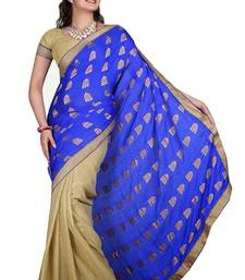 Buy blue and golden half n half simple party wear saree with blouse half-saree online