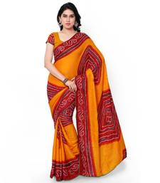 Buy Yellow printed crepe saree With Blouse ethnic-saree online