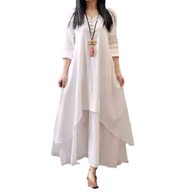 Buy white bhagalpuri semi stitched kurti whith plazo Online