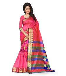 pink printed tussar silk saree With Blouse shop online